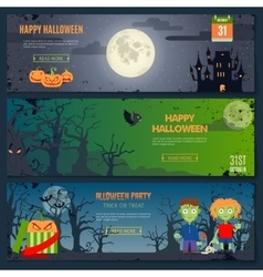 Happy Halloween Banner Set vector image vector image