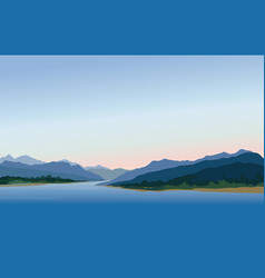 Mountain and hills landscape rural skyline lake vector