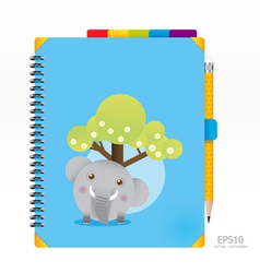 note book blue color with pencil vector image vector image