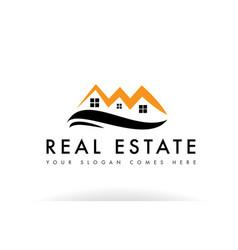 Orange black real estate house logo icon company vector