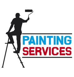 Painting services design - man painting the wall vector