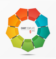 polygonal circle chart infographic template with 9 vector image vector image