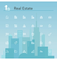 Real Estate Line Icons vector image