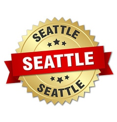 Seattle round golden badge with red ribbon vector