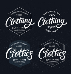 set of clothing and clothes hand written lettering vector image vector image