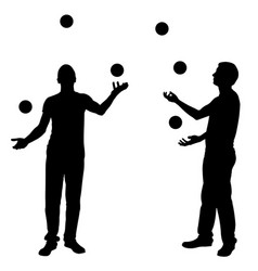 silhouettes of men juggling balls vector image vector image