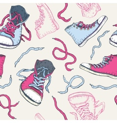 Sneakers Shoes Seamless pattern vector image