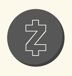 Symbol of digital crypto currency zcash round vector