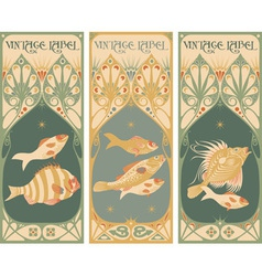 Vintage labels - fish vector