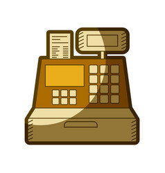 Yellow aged silhouette of cash register vector