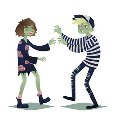 zombie couple cute young woman and man in style vector image vector image
