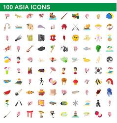 100 asia icons set cartoon style vector