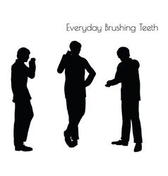 Man in everyday brushing teeth vector