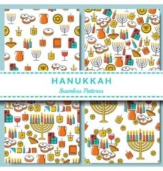 Hanukkah seamless pattern collection Hanukkah vector image
