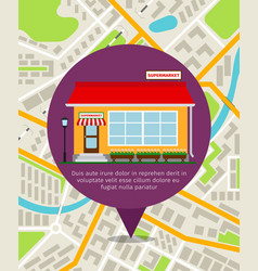 Supermarket location pin on map vector