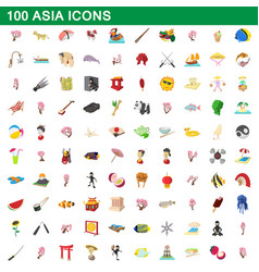 100 asia icons set cartoon style vector image