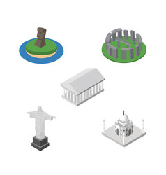 Isometric attraction set of india mosque athens vector