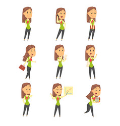 set of cute businesswoman characters in different vector image