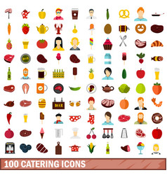 100 catering icons set flat style vector image