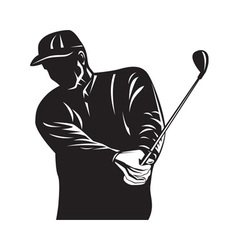 Golfer swinging club black and white retro vector