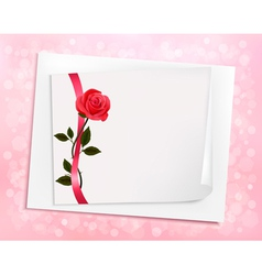 Holiday background with sheet of paper and a rose vector