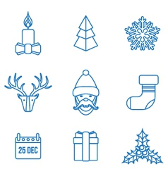 Various christmas outline icons set vector