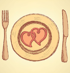 Sketch hearts on the plate in vintage style vector