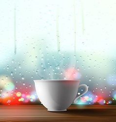 White cup on the background of a window vector
