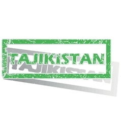 Green outlined tajikistan stamp vector