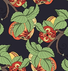 Seamless colored fruit pattern vector