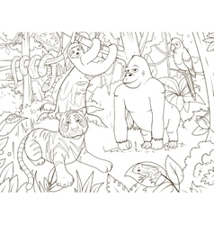 Jungle animals cartoon coloring book vector