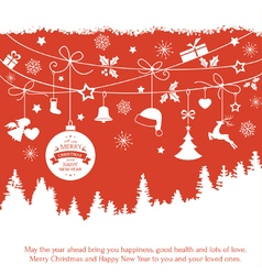 Red monochrome Christmas ornaments fir vector image