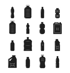 Plastic bottle silhouettes vector