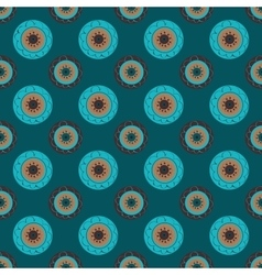Turquoise flowers abstract seamless pattern vector