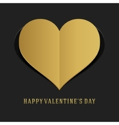Valentines day greeting card or poster gold heart vector
