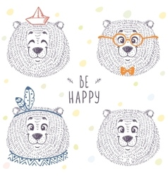 Bear cute set vector