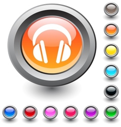 Headphones round button vector