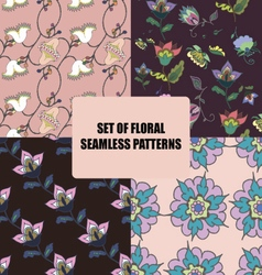 Set of beautiful floral seamless patterns vector