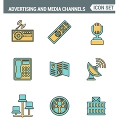 Icons line set premium quality of advertising vector