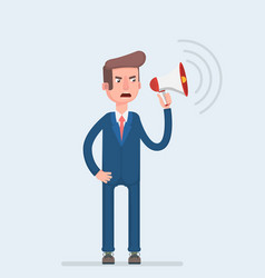 a businessman in formal suit holding megaphone and vector image vector image