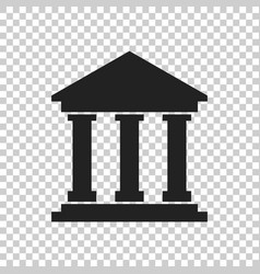 Bank building icon in flat style museum on vector