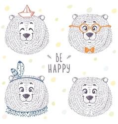 Bear cute set vector