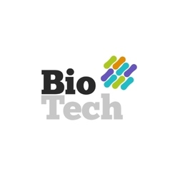 Bio technology logotype with genetic microorganism vector image vector image
