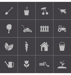 black gardening icons set vector image vector image