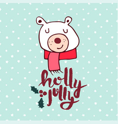 Christmas cute holiday polar bear cartoon card vector