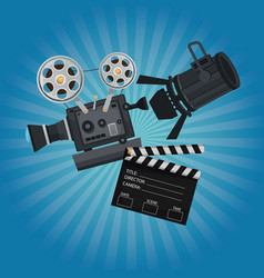 Color background with glow with movie film vector