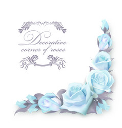 corner background with blue roses and green vector image vector image