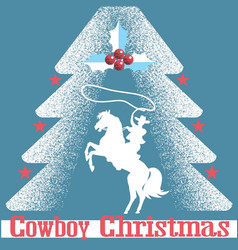 cowboy christmas card blue background with cowboy vector image vector image