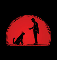 dog training a man training a dog vector image