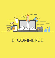 e-commerce startup with vector image vector image